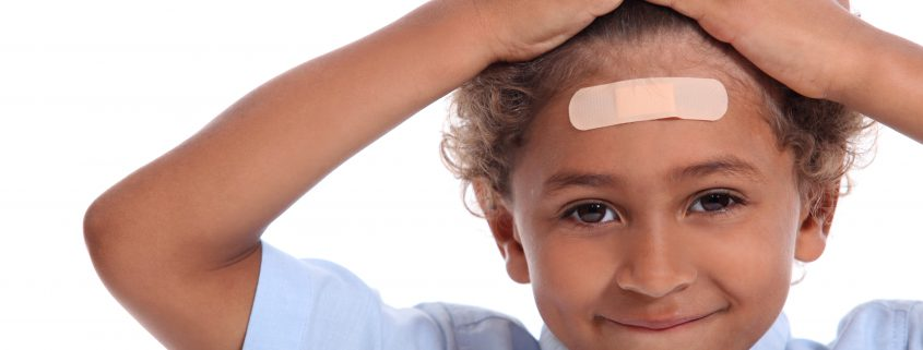 ADHD, Learn from mistakes; Boy with plaster on head